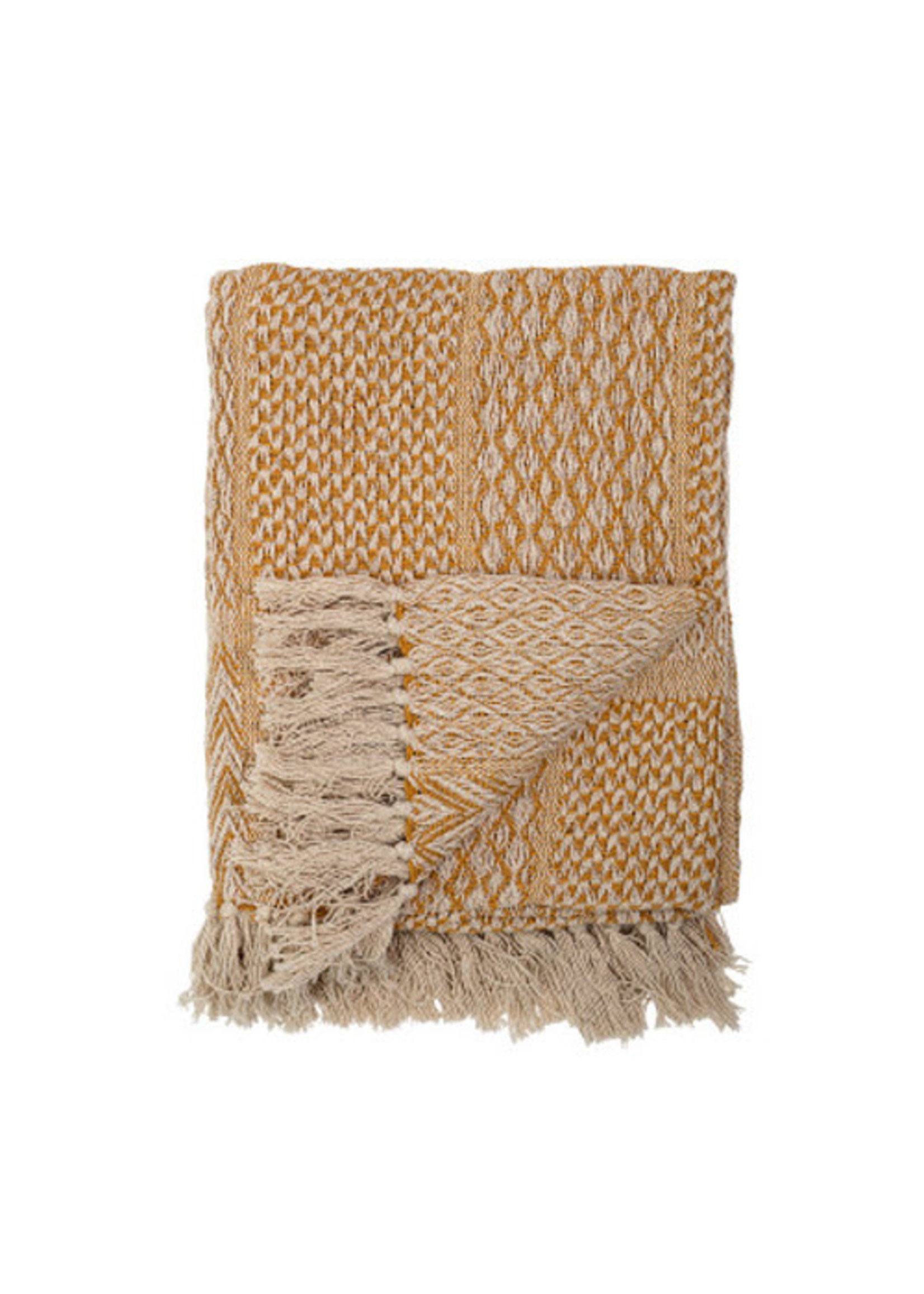 Woven Recycled Cotton Blend Throw with Tassles