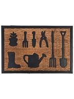 Rubber and Coir Doormat with Garden Tools