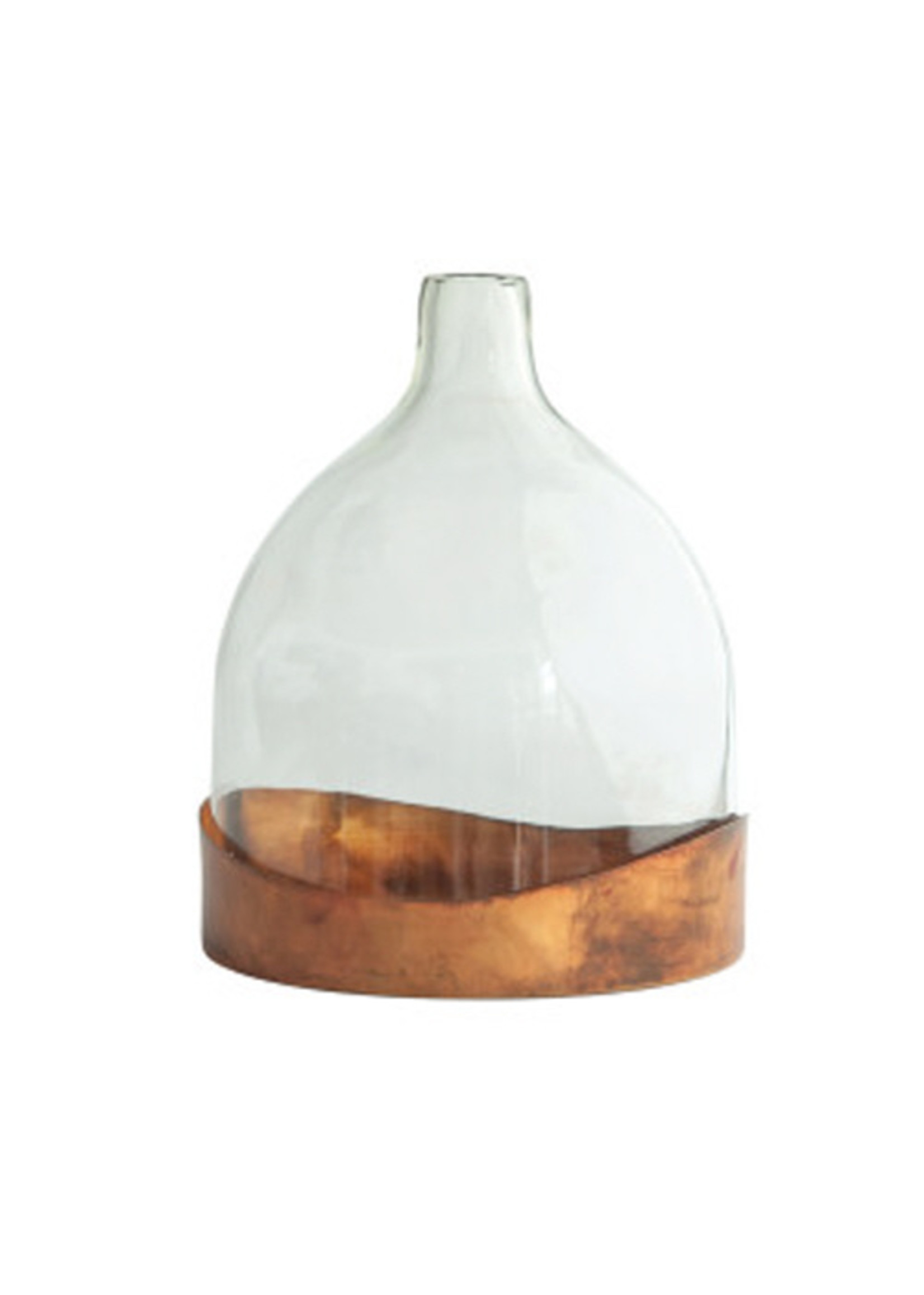 Glass Cloche with Decorative Metal Tray