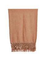 Woven Cotton Throw with Crochet Fringe