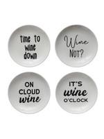 Round Stonware Dish with Wine Sayings