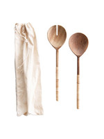 Wood Salad Servers with Bamboo Wrapped Handles Set of Two