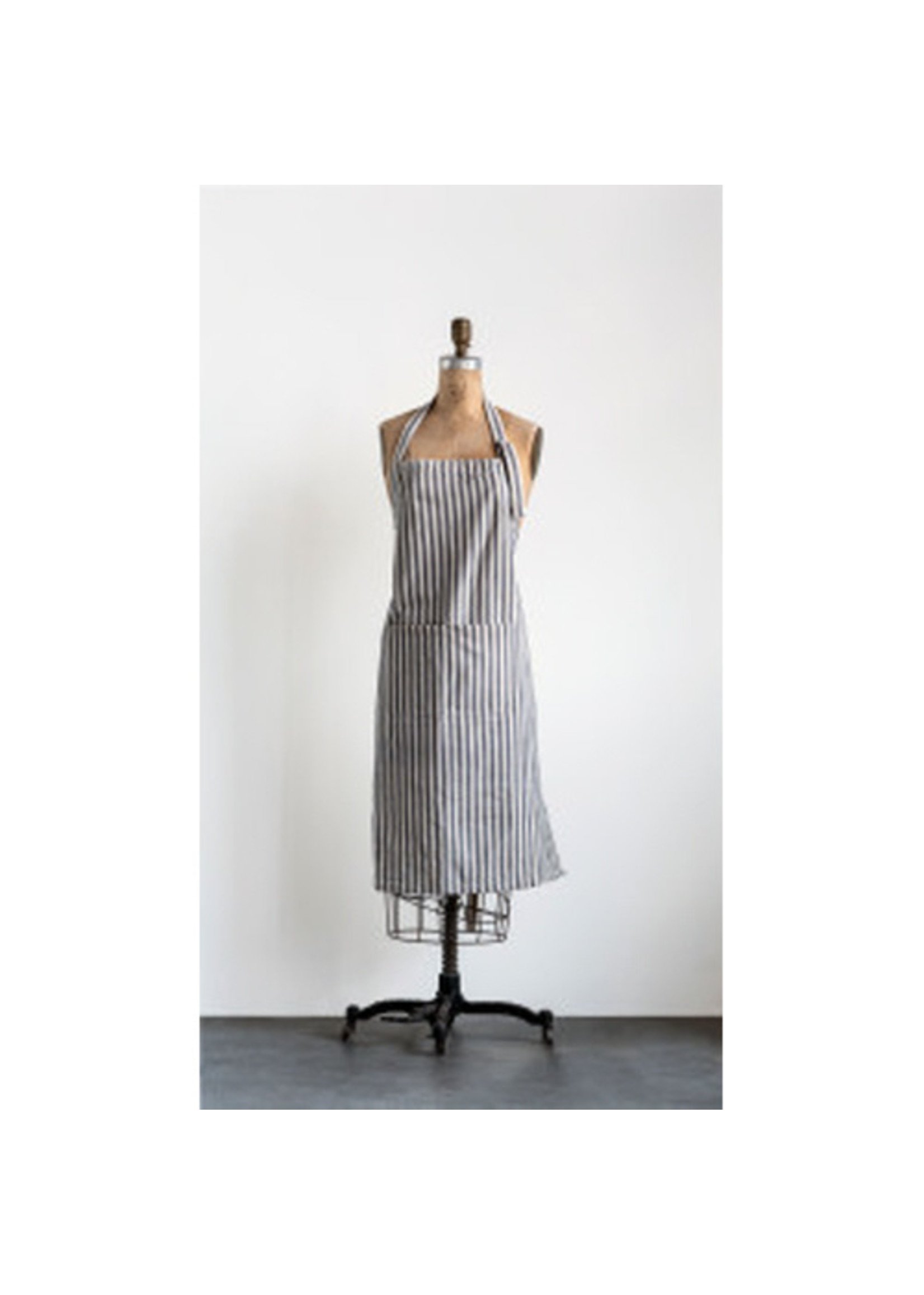 Cotton Striped Apron with Pocket