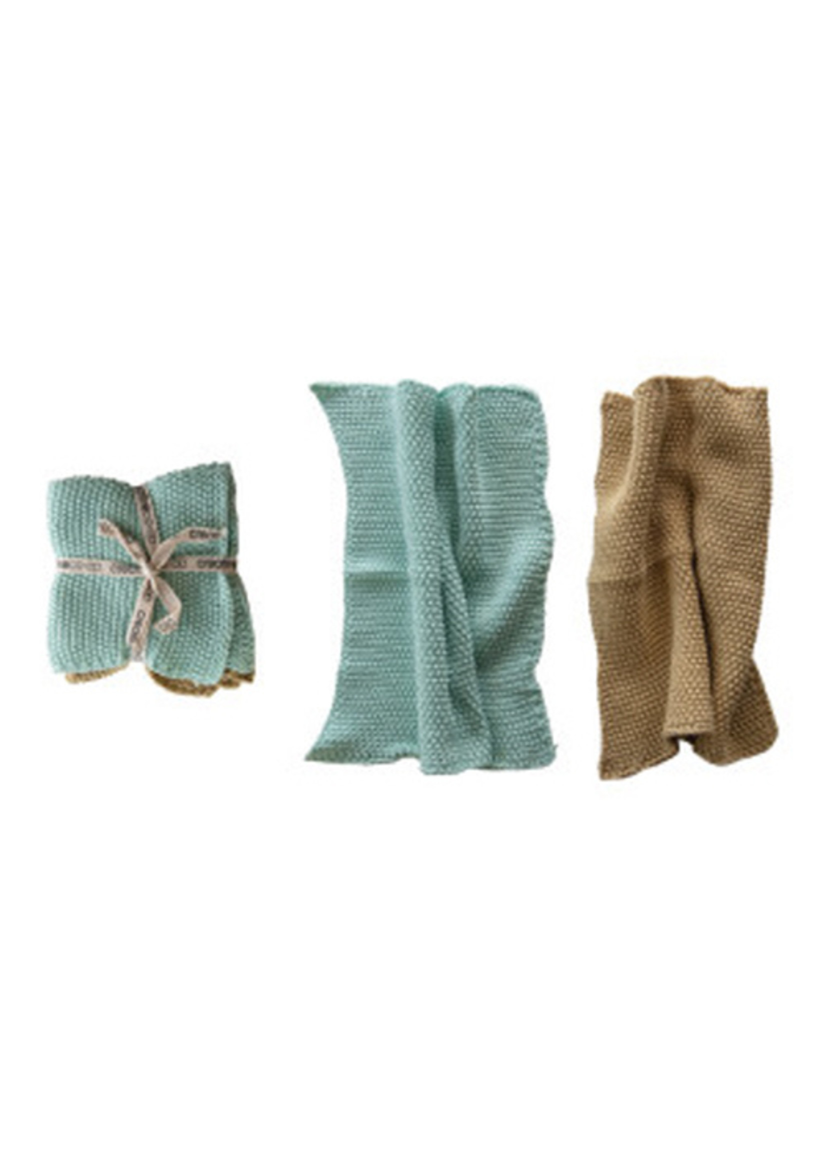 Square Cotton Knit Dish Cloths Set of Two