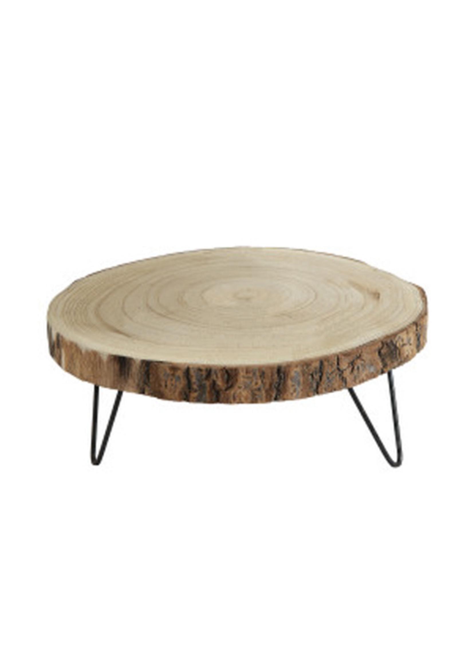 Round Paulowina Wood Pedestal with Metal Legs