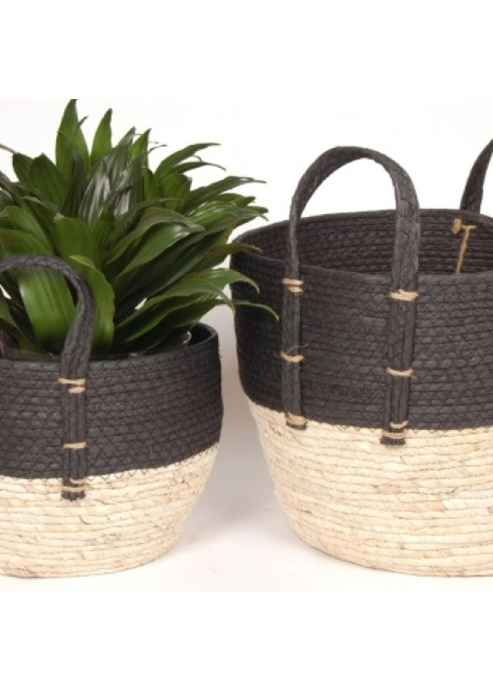 Black and Natural Straw Basket