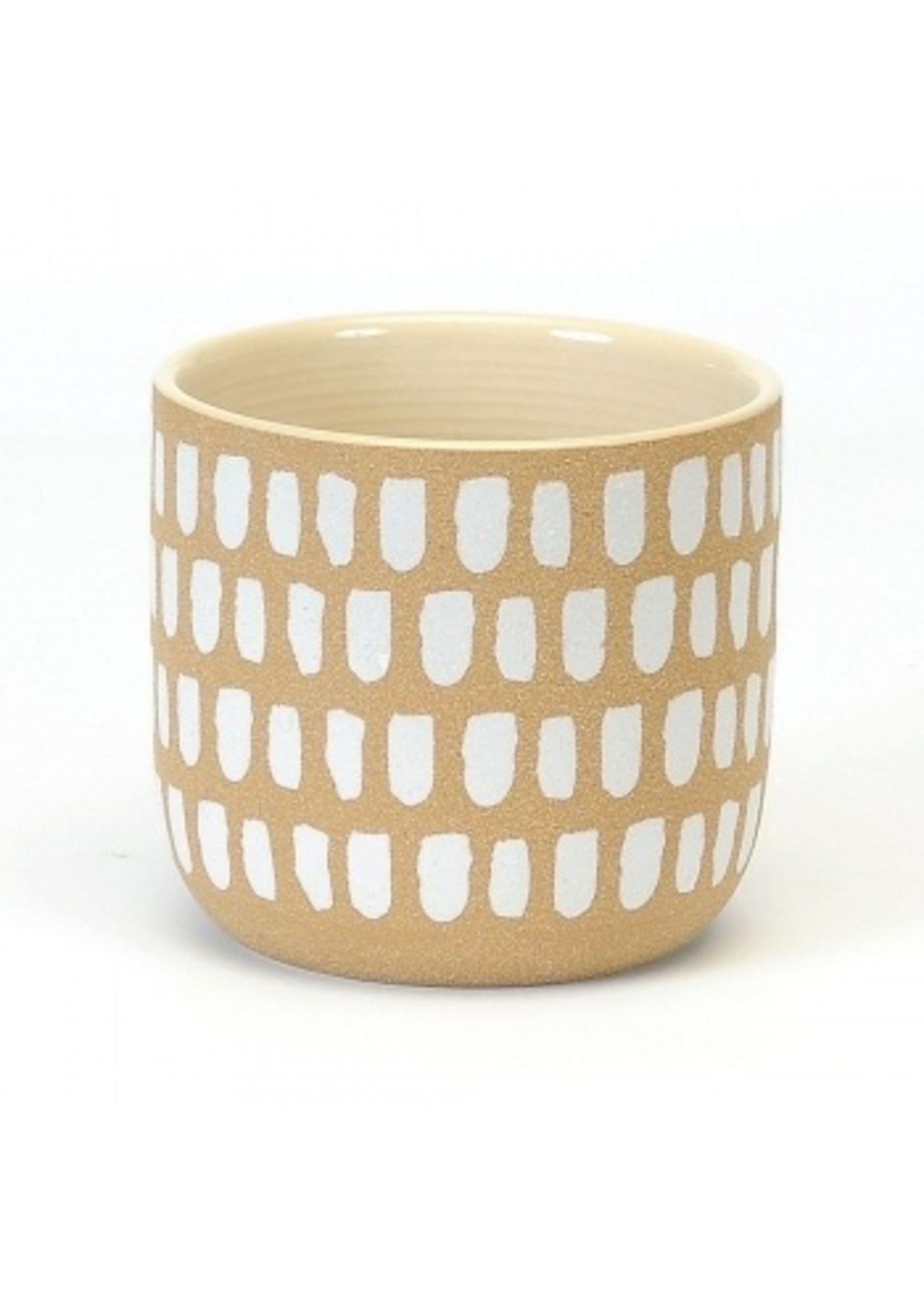 Large Pot with White Brush Strokes