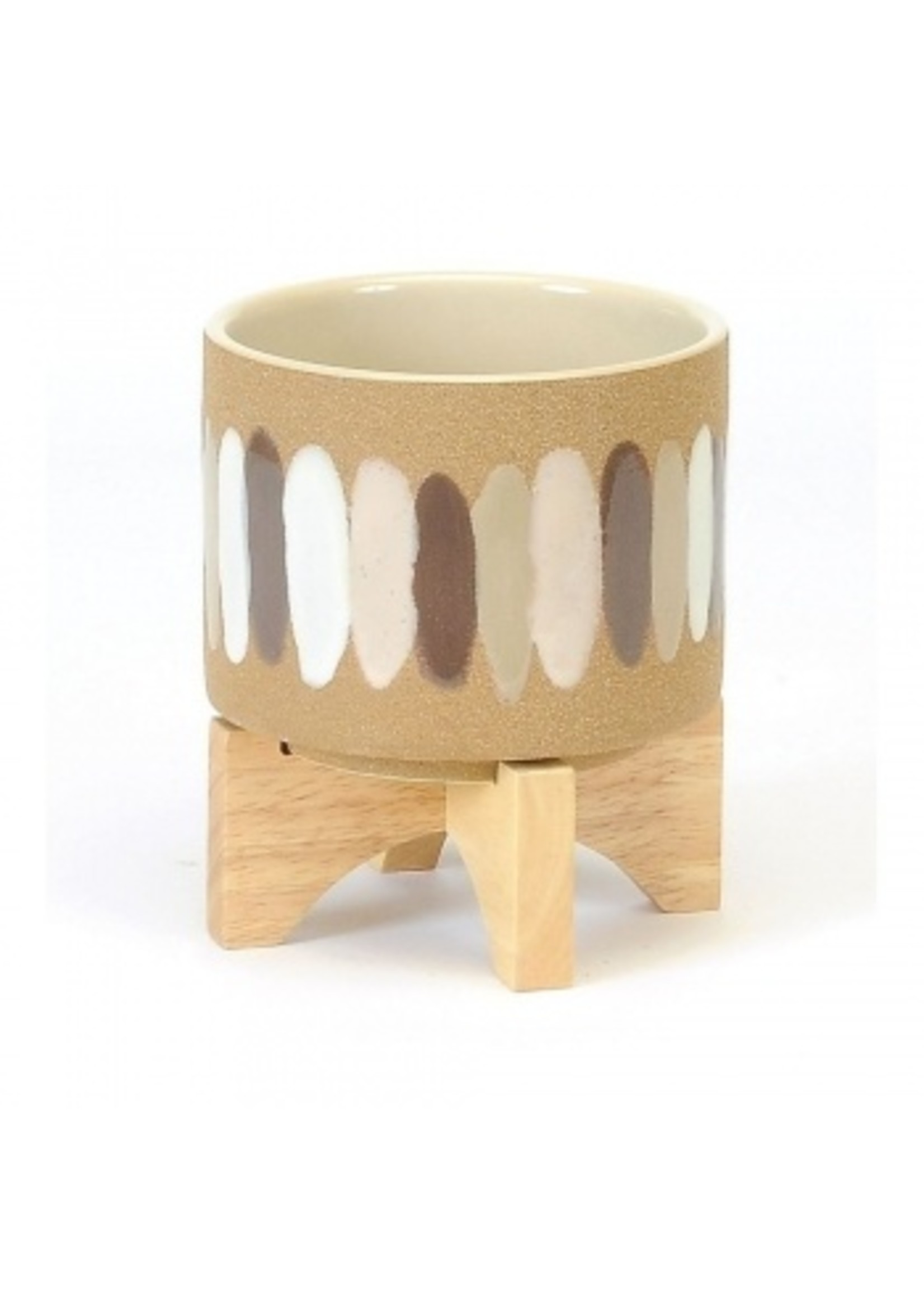 Small Pot with Brush Strokes and Wooden Stand