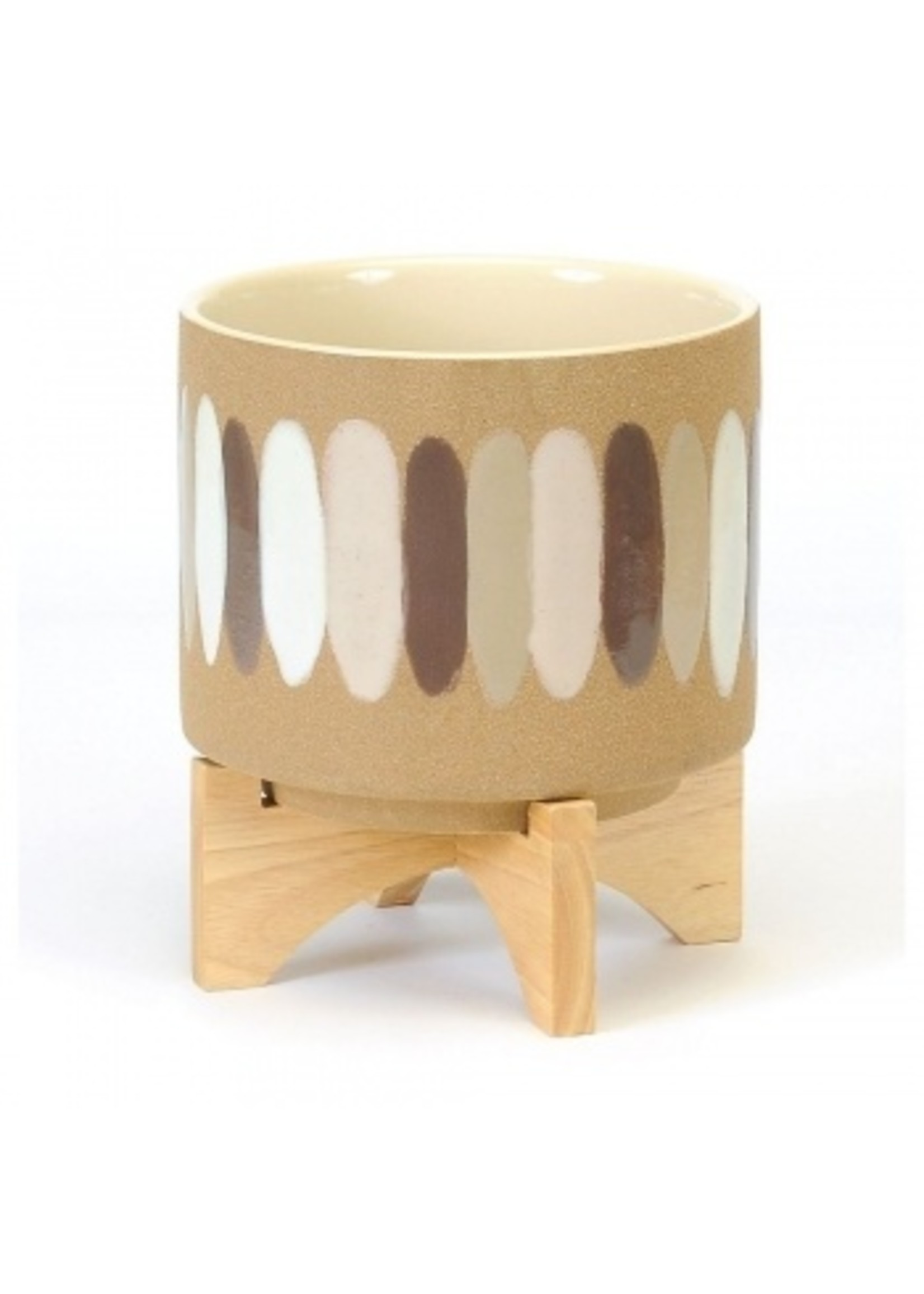 Large Pot with Brush Strokes on Wooden Stand