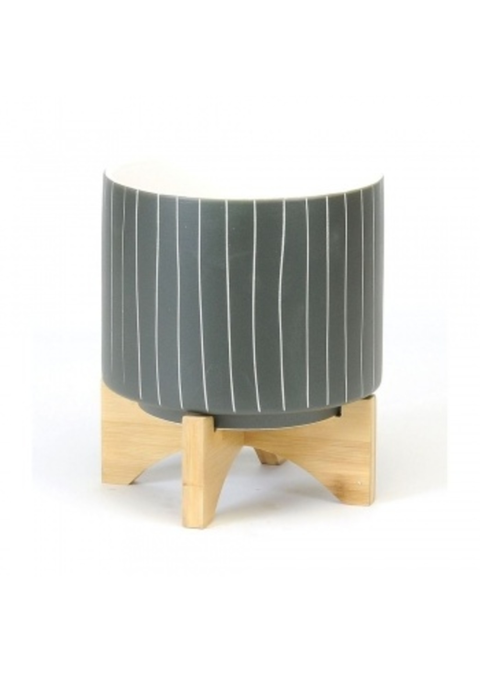 Large Dark Grey Striped Pot with Wooden Stand