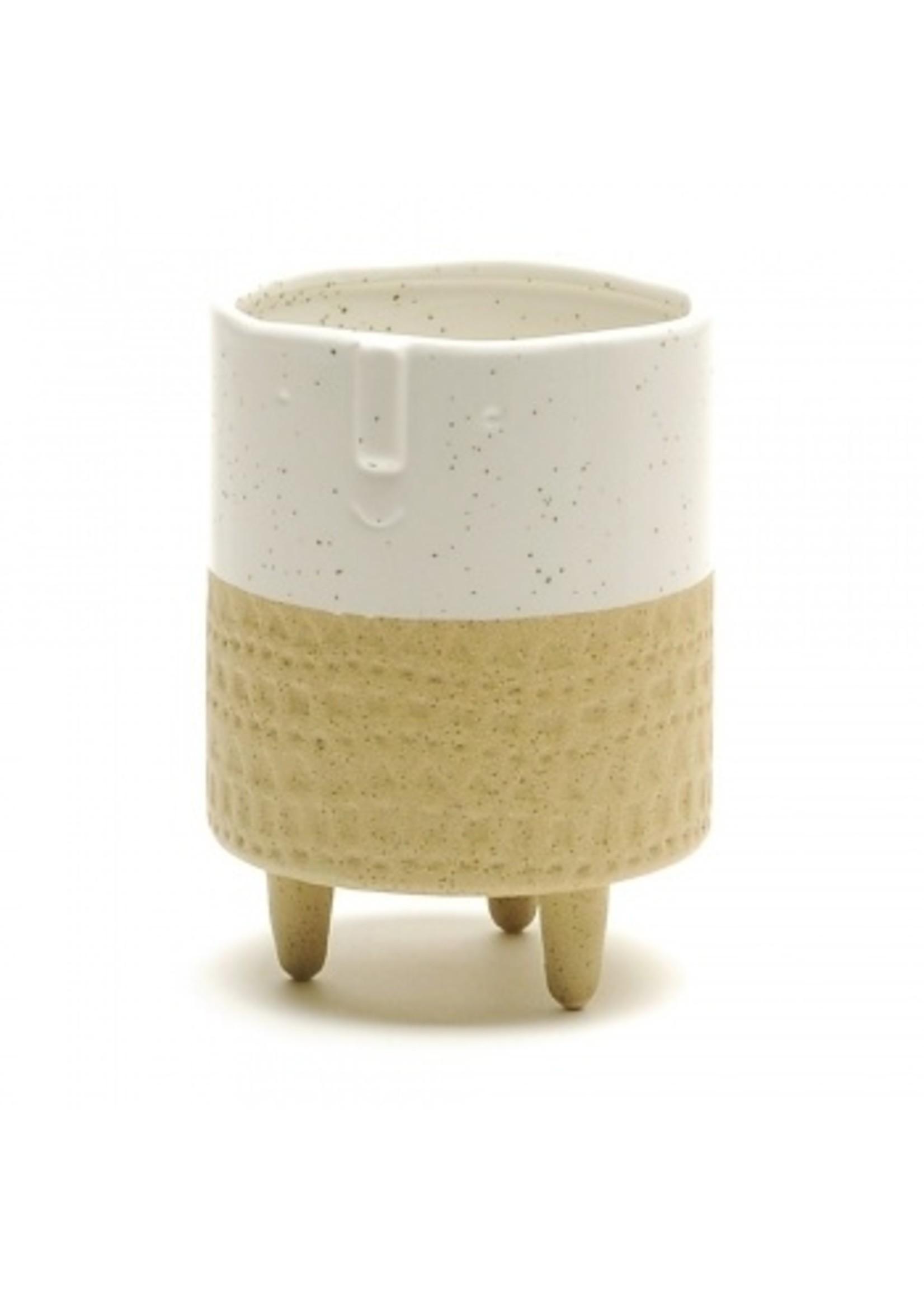 Two Tone Ceramic Face Pot
