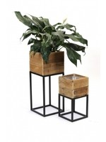 Square Wood Planters with Metal