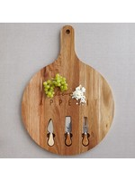 Mason Round Serving Board with Cheese Knives