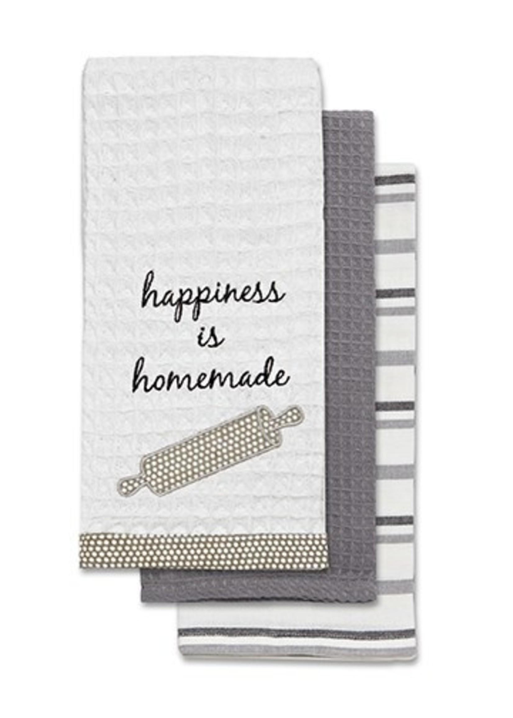 """Happiness Is Homemade"" Applique Tea Towel Set 3pc"