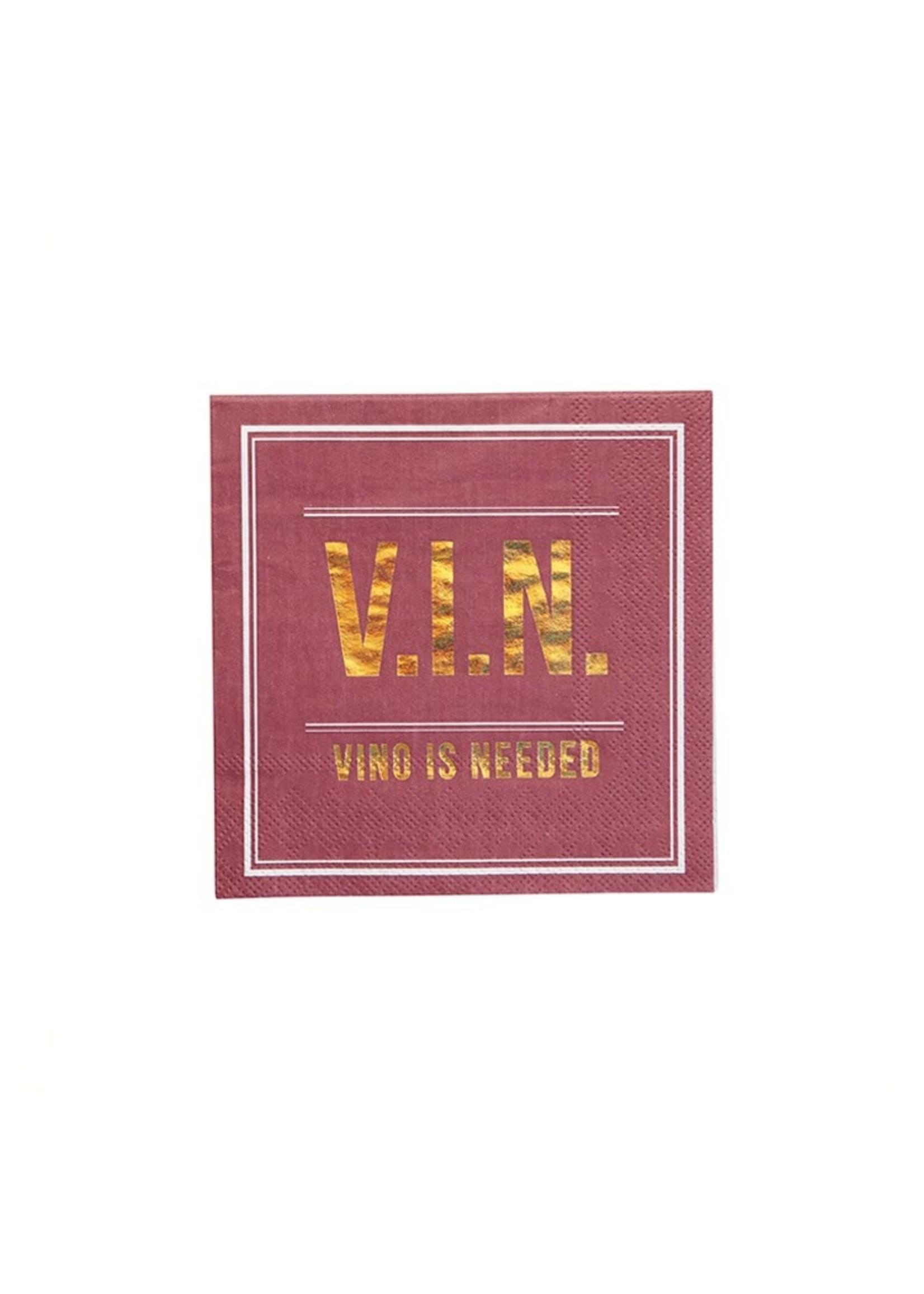"""V.I.N"" Cocktail Napkin"