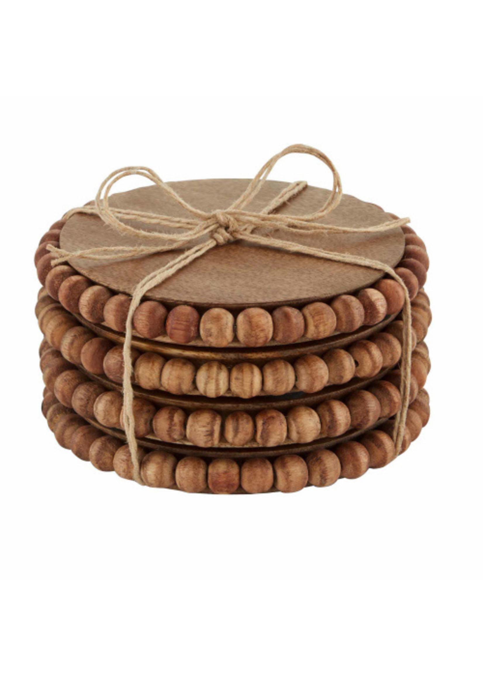 Beaded Wood Coasters