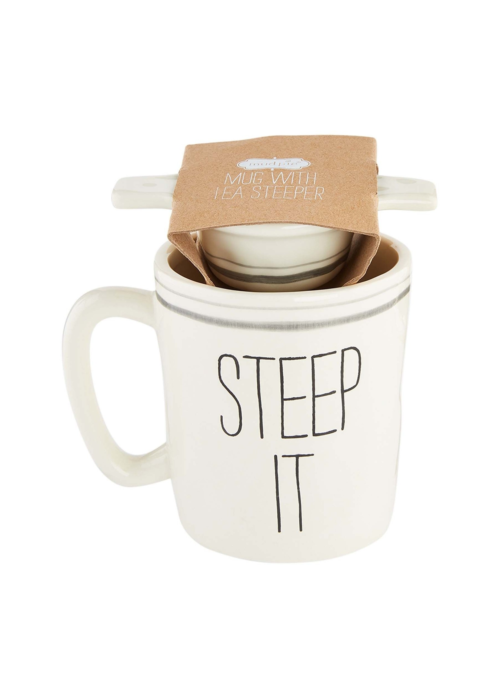 """Mud Pie """"Steep It"""" Mug and Tea Strainer"""