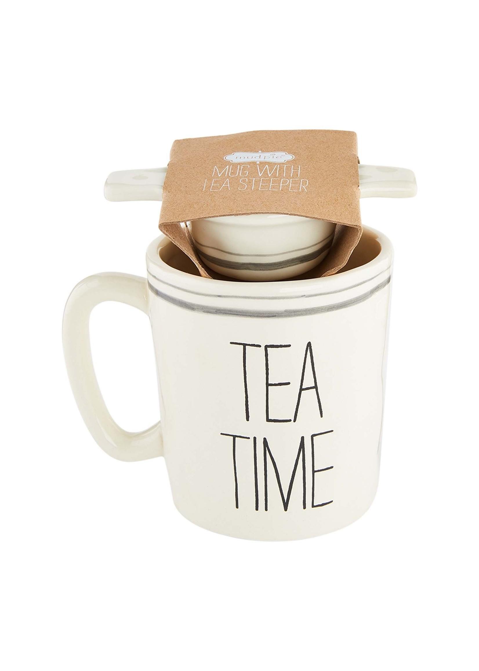 """Mud Pie """"Tea Time"""" Mug and Tea Strainer"""