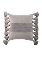 Grey Square Tassel Pillow