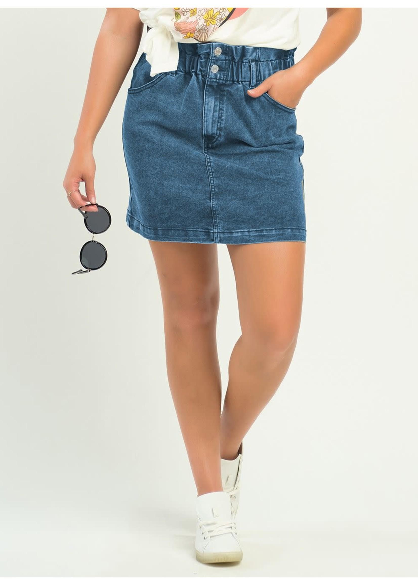 Dex Paperbag Waist Denim Skirt