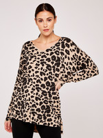 Apricot Leopard Print Soft Touch V-Neck Sweater