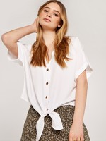 Apricot Button Down Knot Front Top