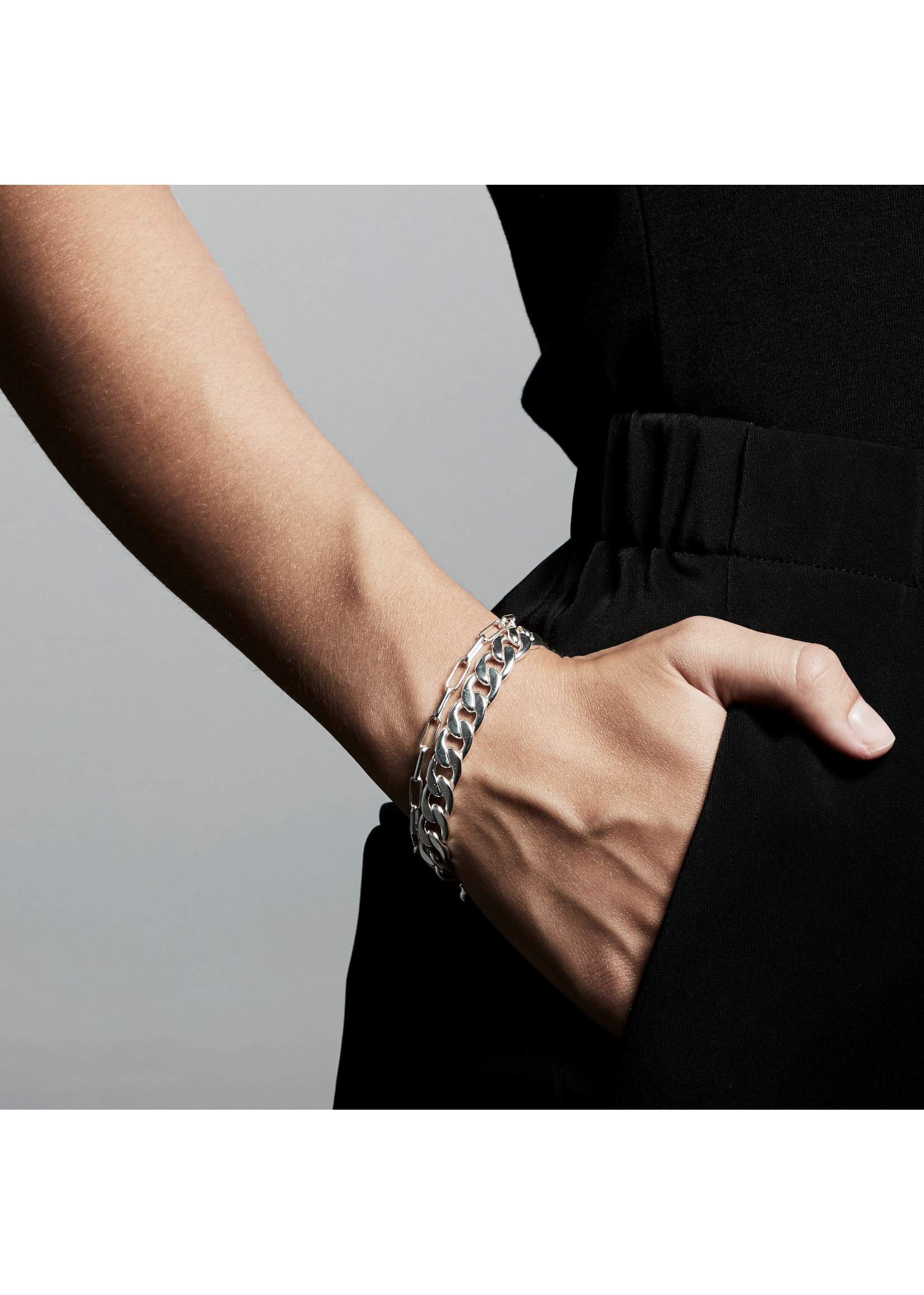 Layered Compass Bracelet - Silver