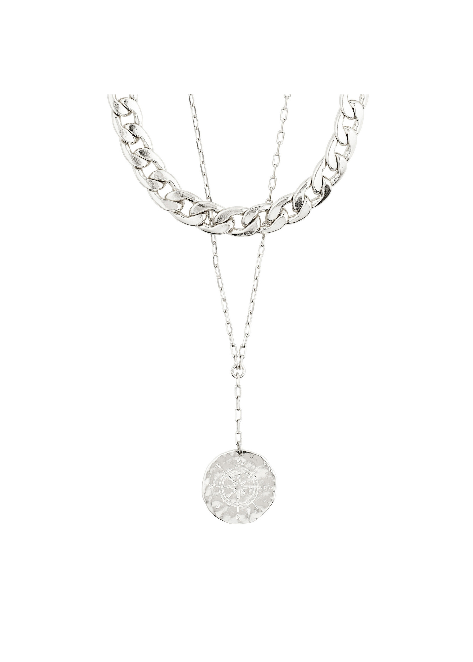 Pilgrim Jewellery Compass 2-in-1 Necklace - Silver