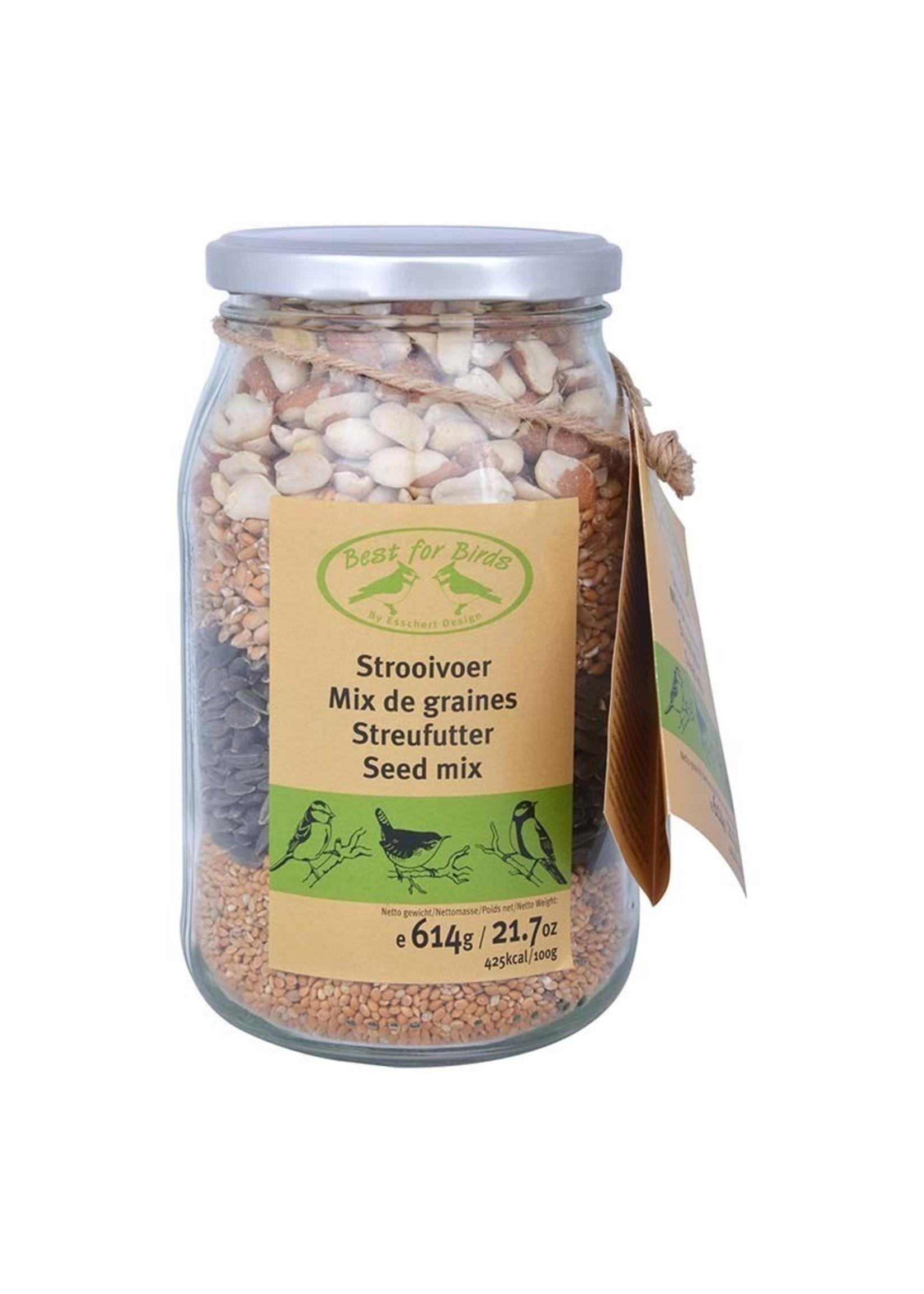 Bird seed mix in glass jar