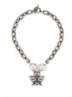 French Kande Lourdes Chain with Pearl and FK Bee Pendant