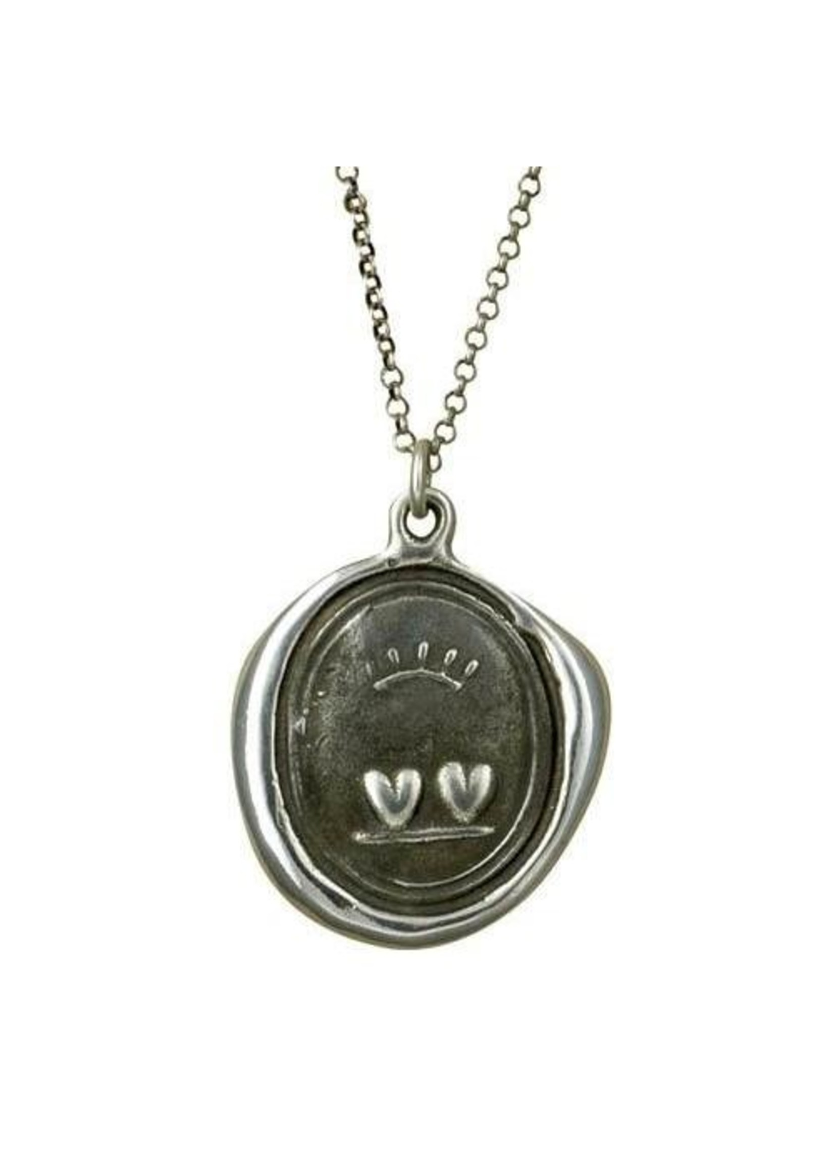 Crowned Hearts Wax Seal Necklace