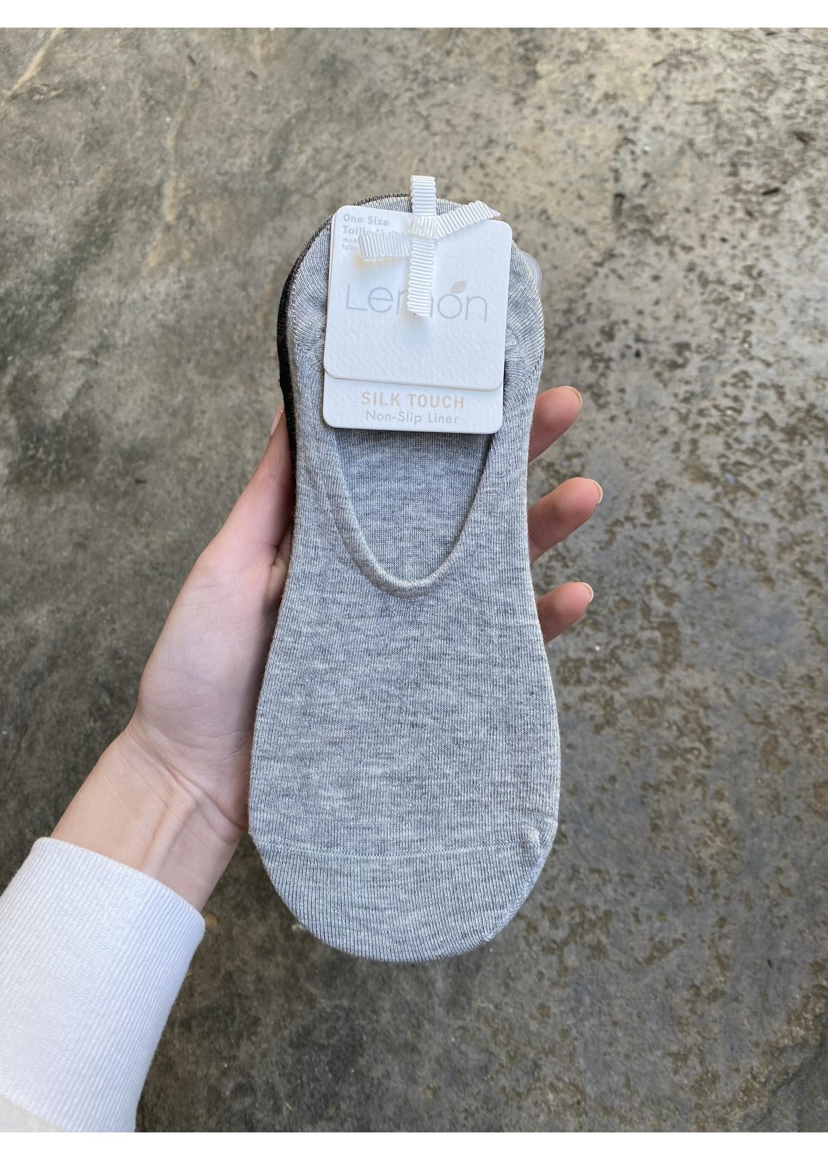 Lemon Loungewear 3 Pack Silk Liner Sock Charcoal