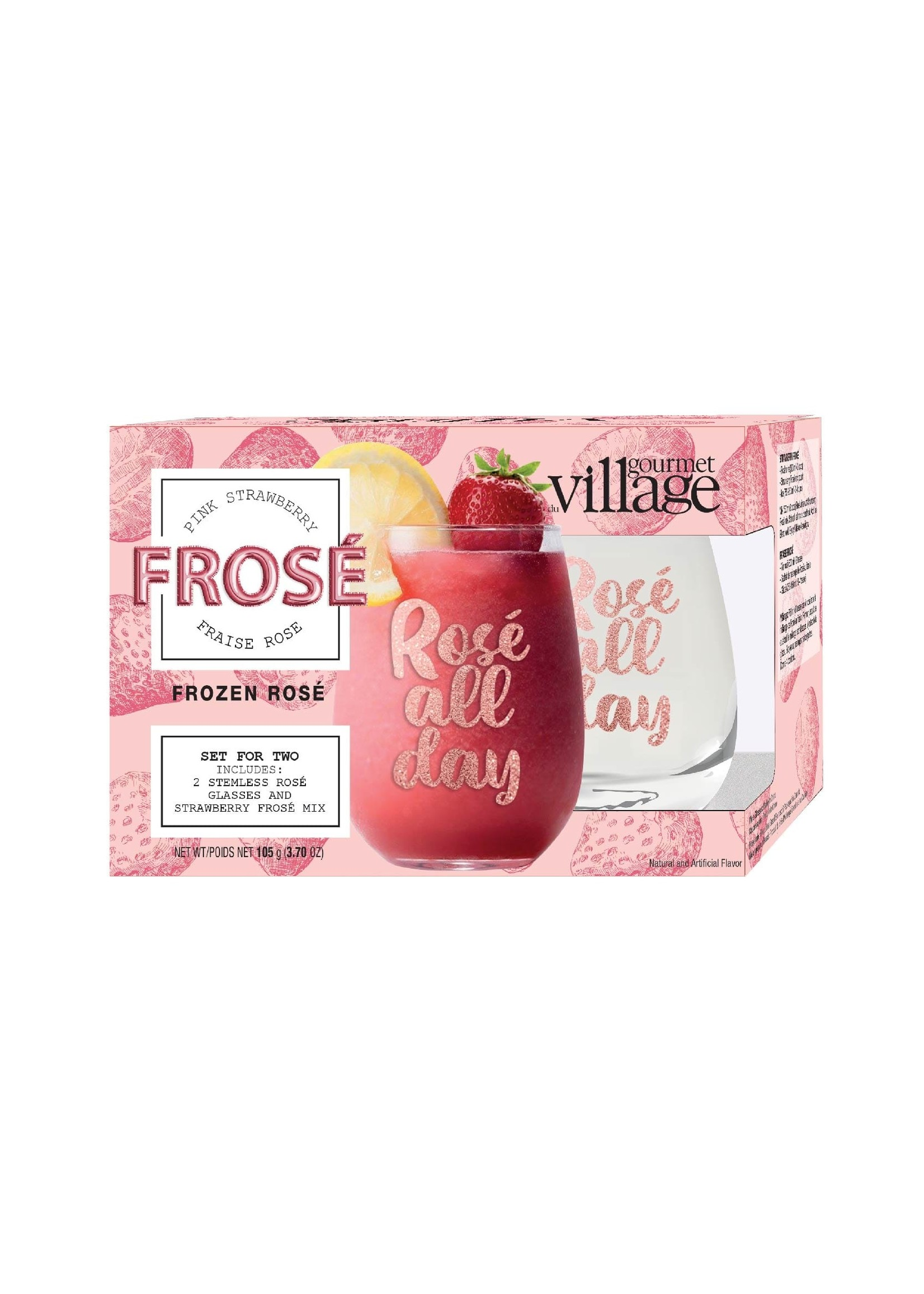 Gourmet Village Rose Wine Glasses with Strawberry Frose