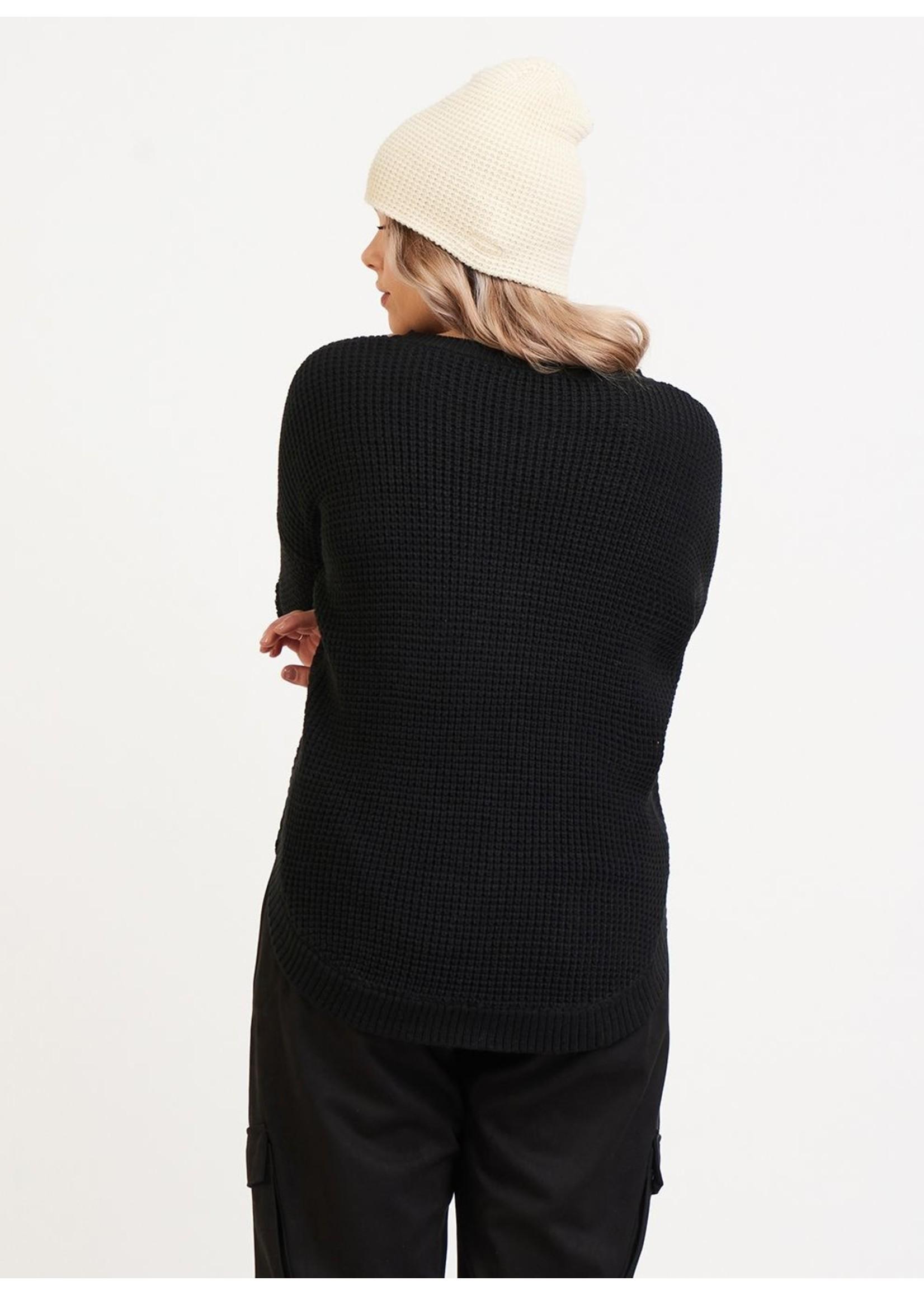 Dex Round Hem Textured V-Neck Sweater