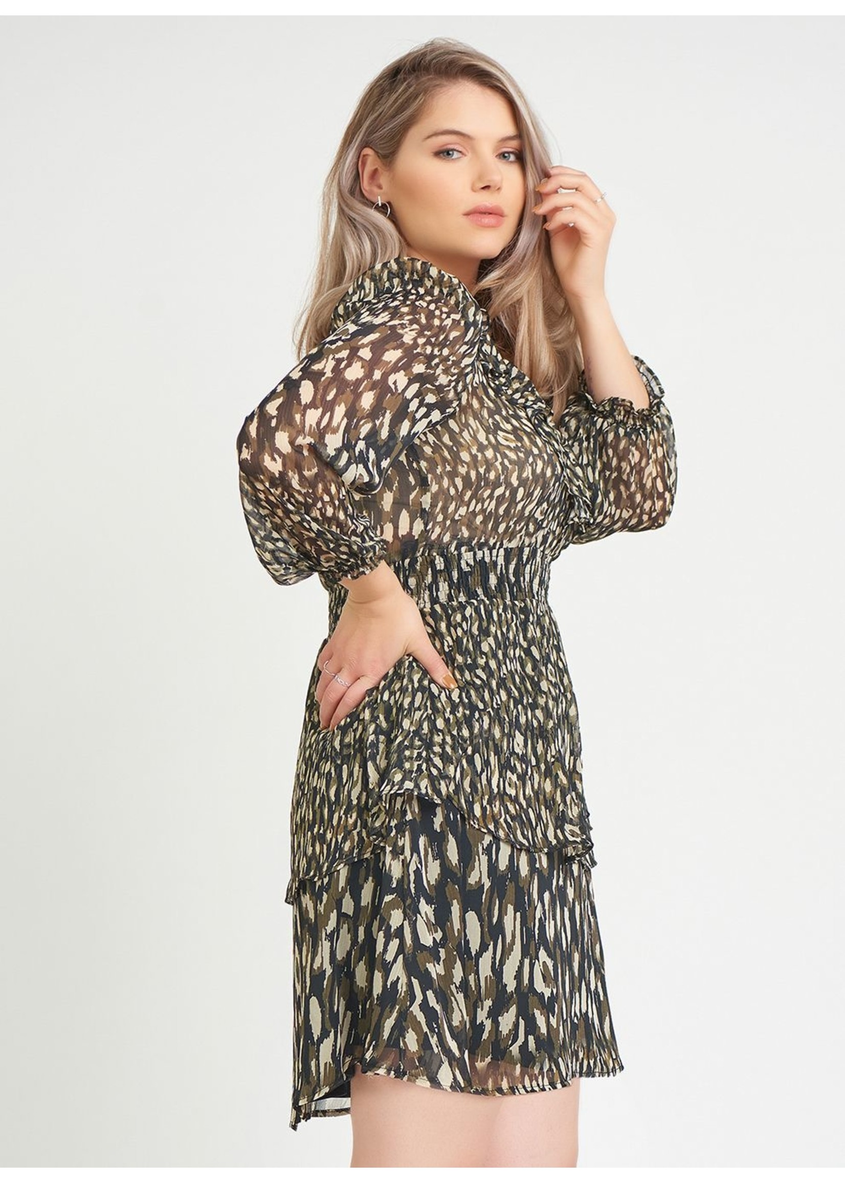 Dex Smocked Waist Tiered Dress