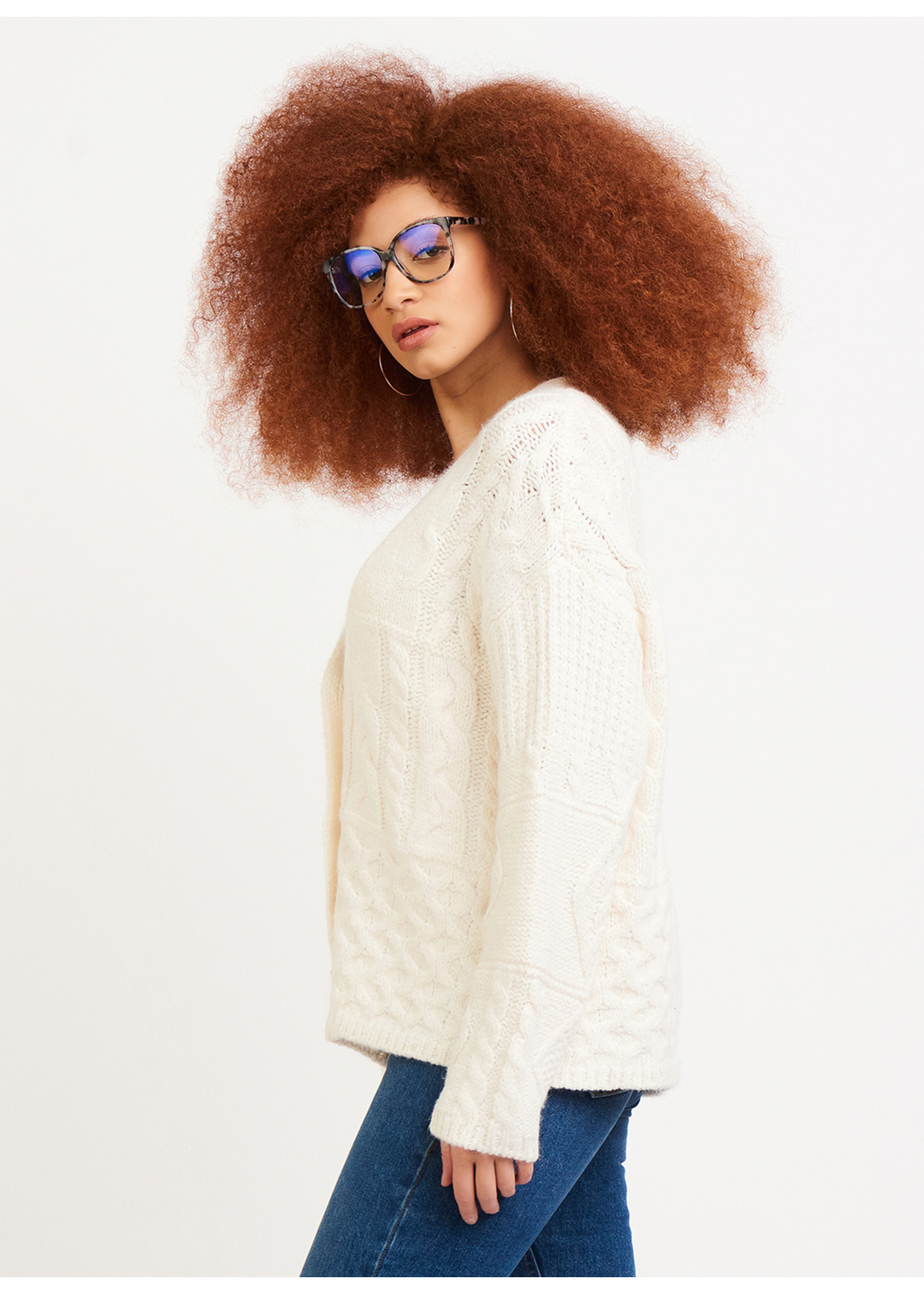 Dex Oversized Cable Knit Cardigan
