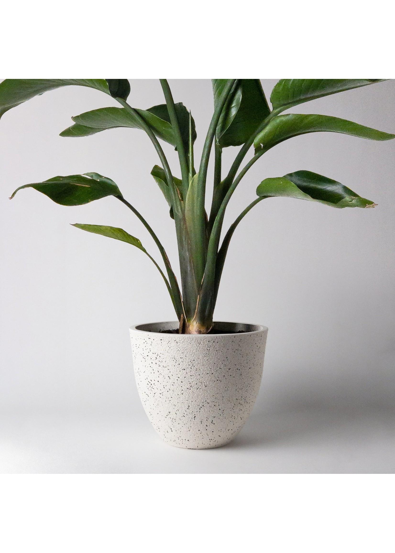 "Kanso Designs Signature Stone Textures White Planter - 9"""