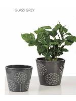 Glass Grey Pot - 15cm