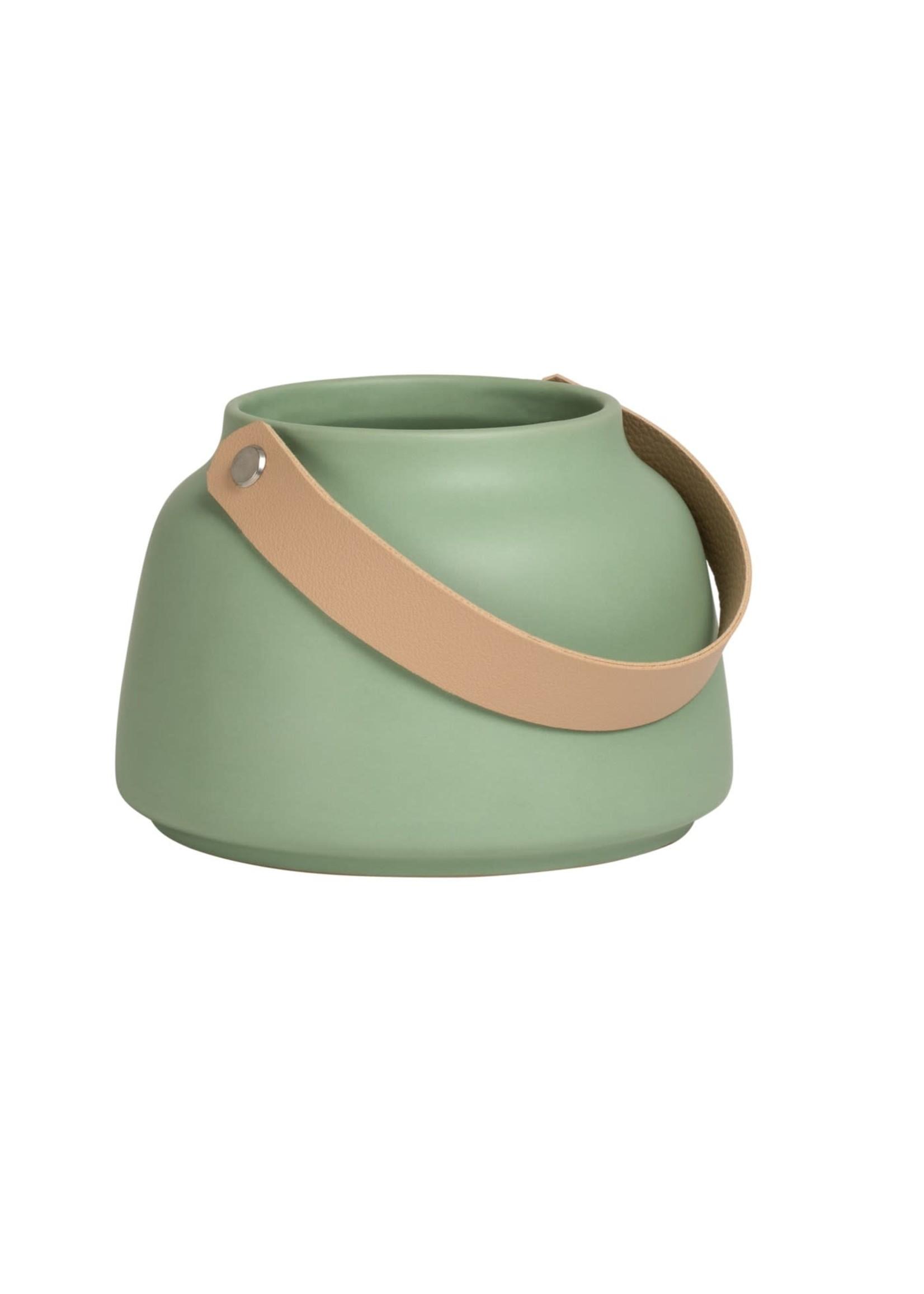 """Torre & Tagus Lido Ceramic Vase - Matte Green 3.5"""""""