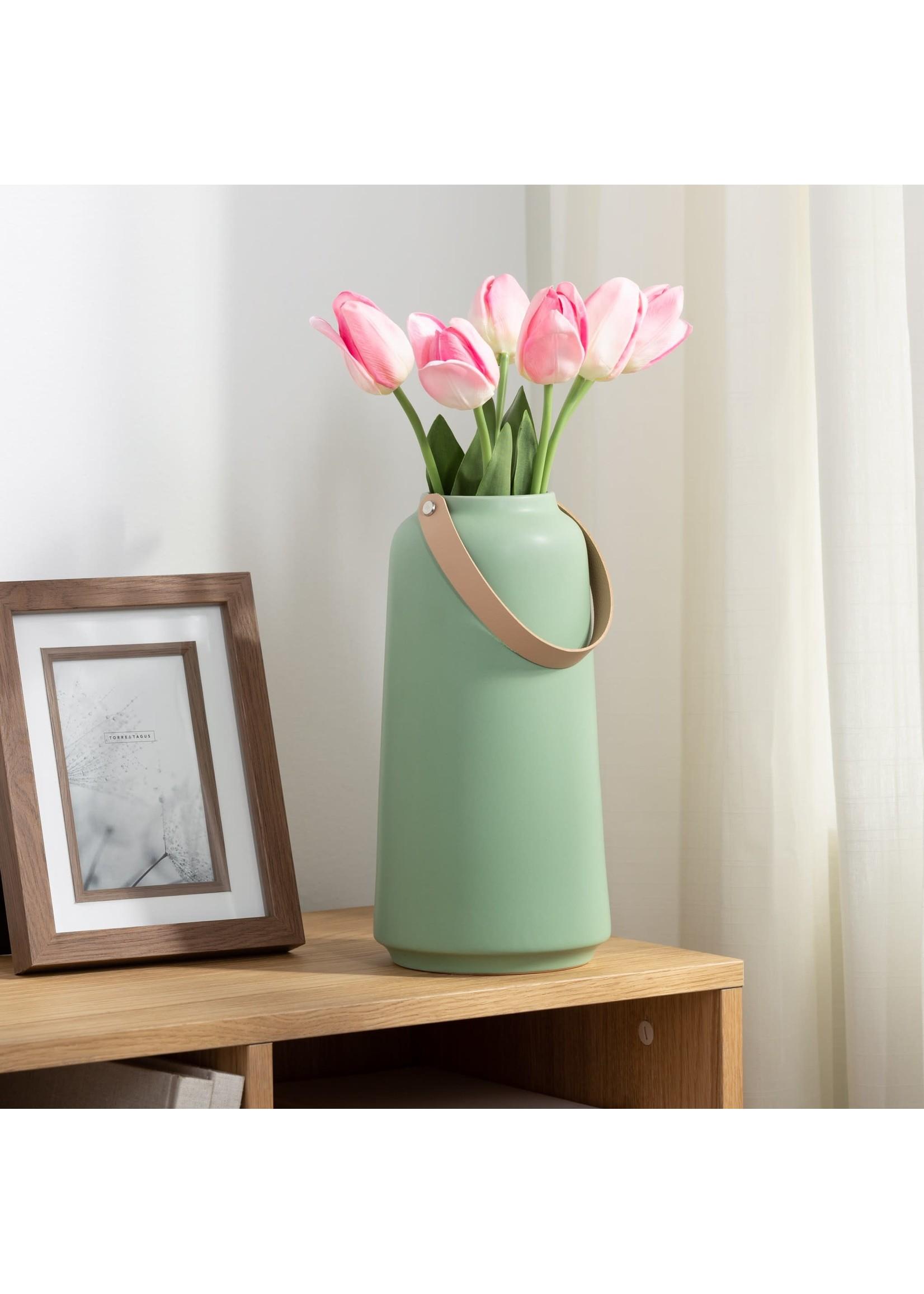 """Torre & Tagus Lido Ceramic Vase - Matte Green 11"""""""