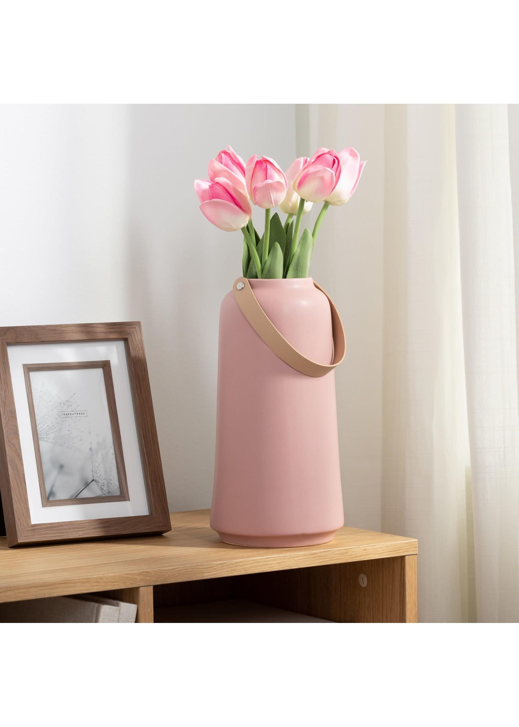 """Torre & Tagus Lido Ceramic Vase - Pink 11"""""""