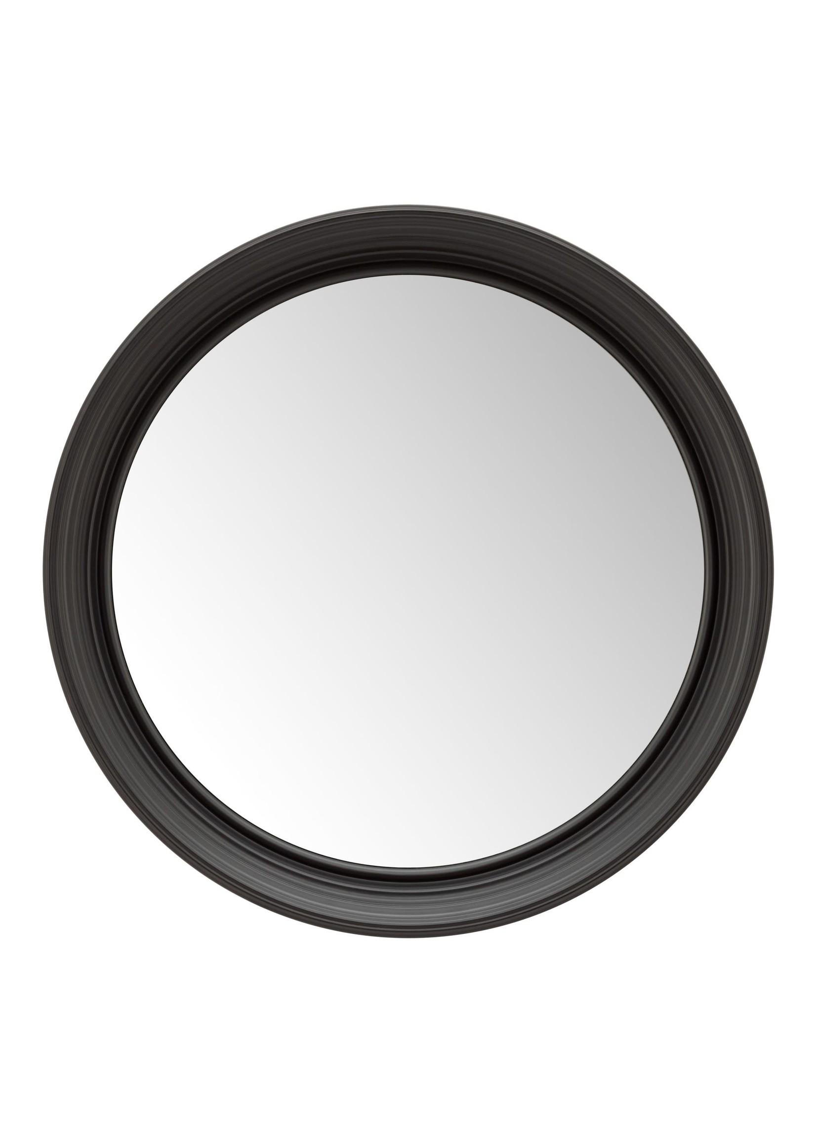 Torre & Tagus Bevelled Frame Round Mirror - Black
