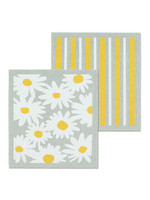 Daisies & Stripe Dishcloth s/2