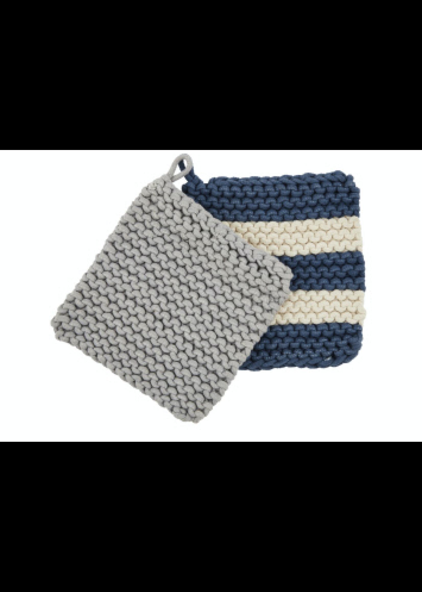 Mud Pie Blue Crochet Pot Holder Set