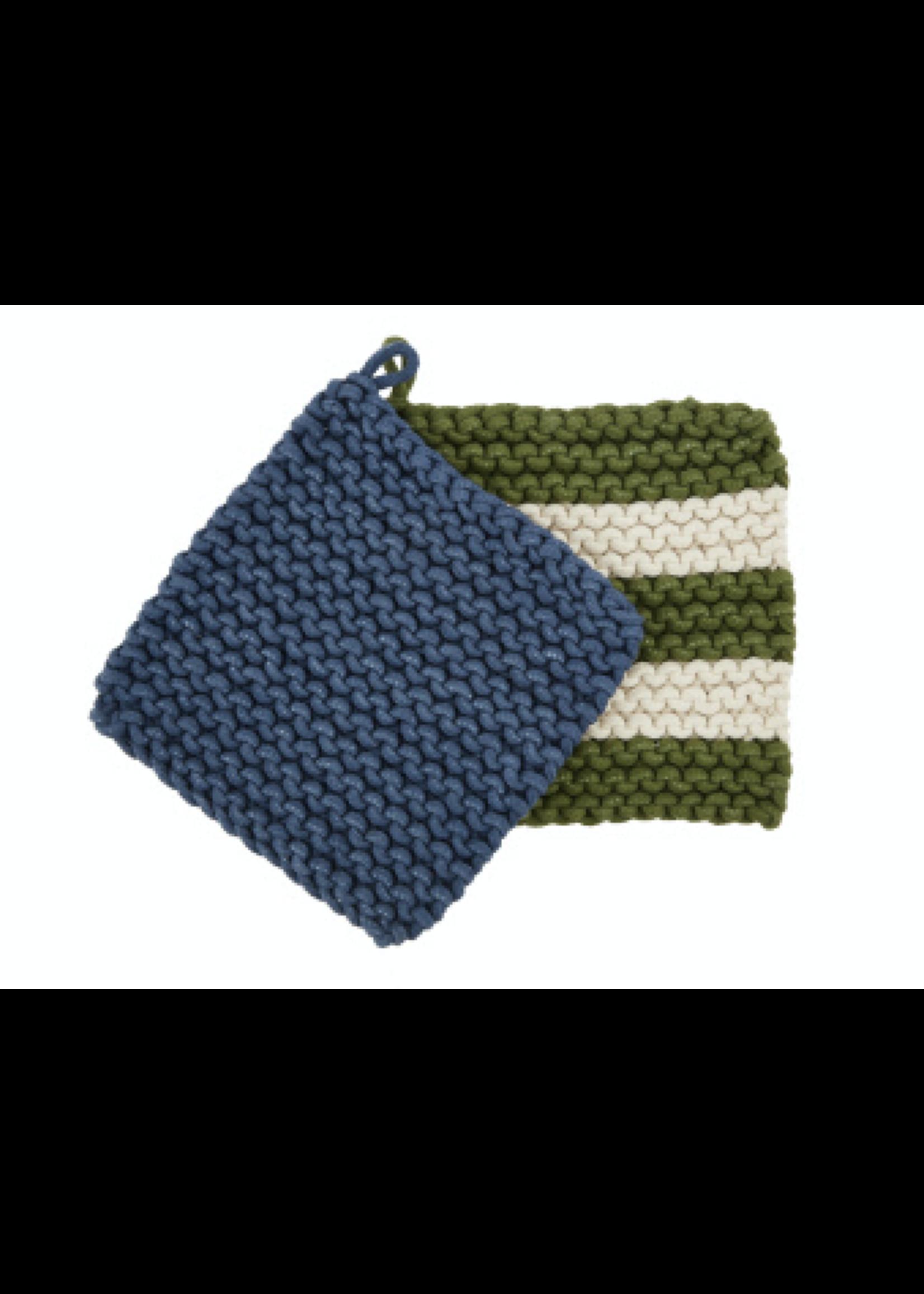 Mud Pie Green Crochet Pot Holder Set