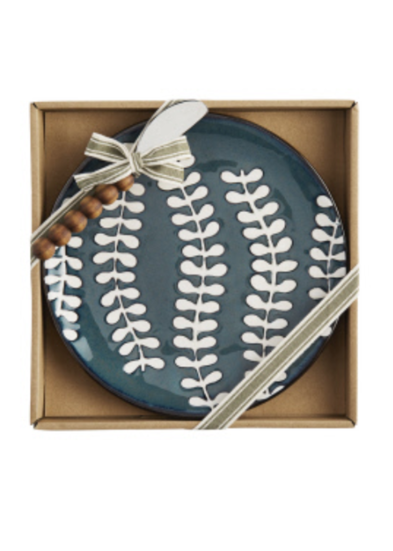 Mud Pie Blue Leaf Cheese Set