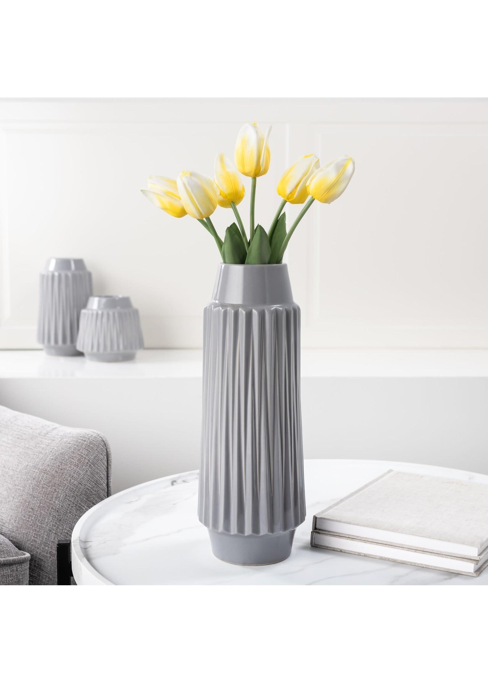 """Torre & Tagus Ella Faceted Ceramic Vase 14"""" - Grey"""