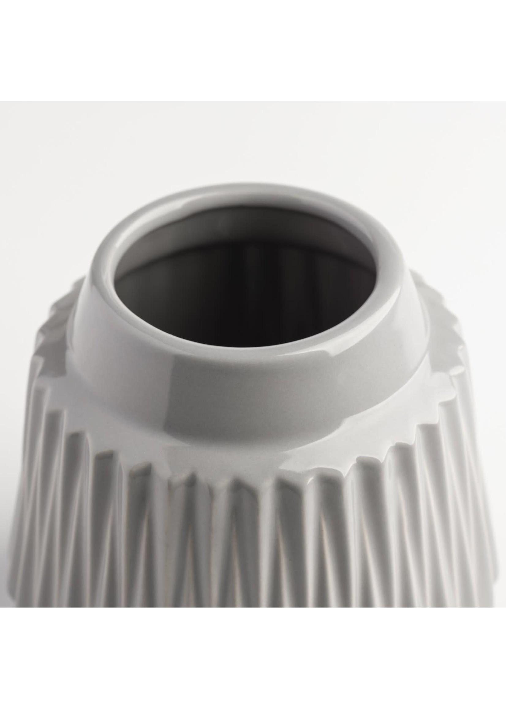 """Torre & Tagus Ella Faceted Ceramic Vase 6"""" - Grey"""