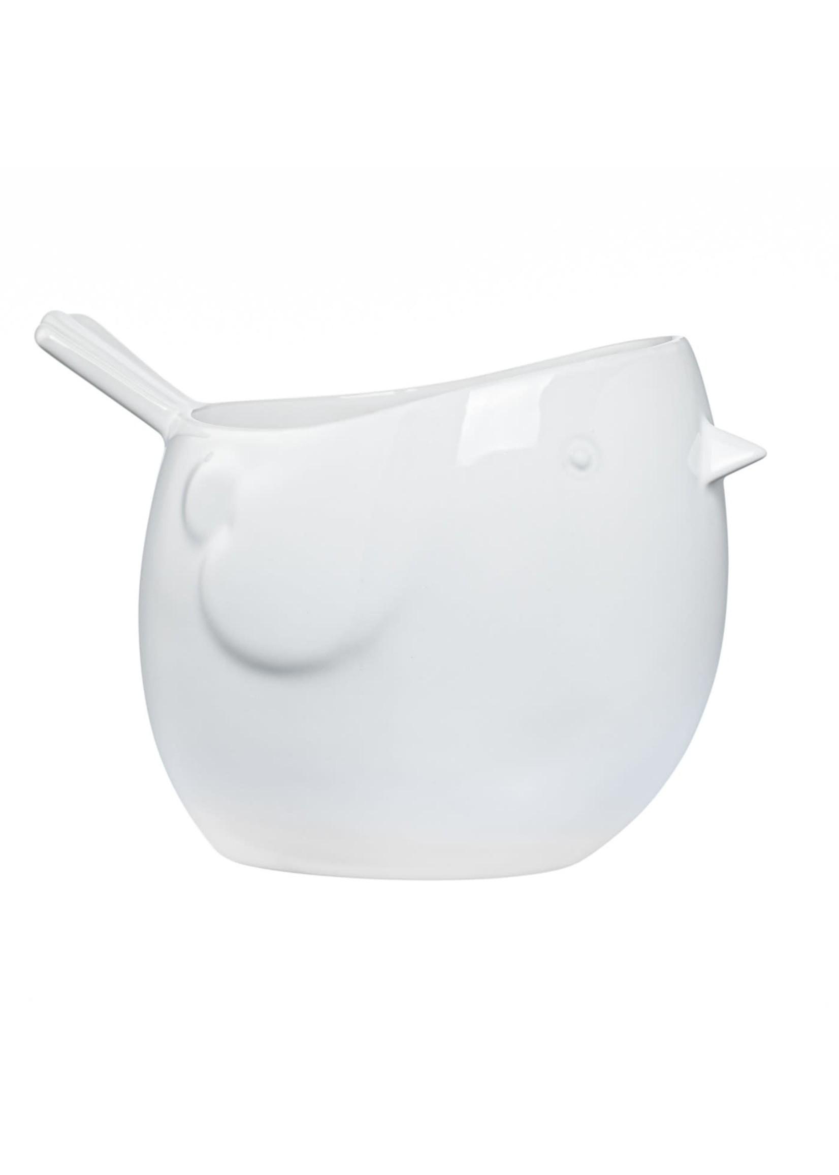Torre & Tagus Finch Ceramic Pot - White