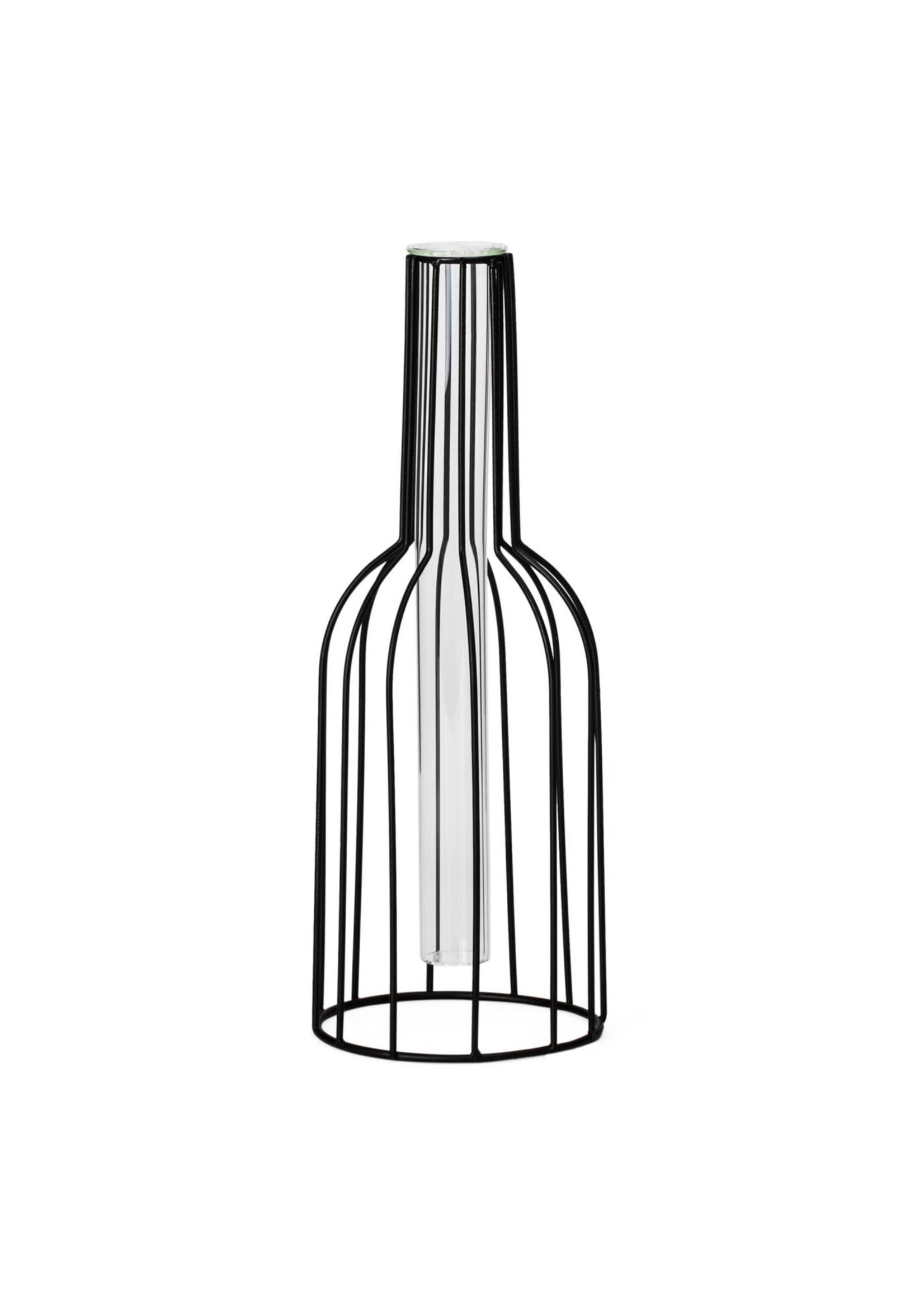 """Torre & Tagus Wire Bottle Vase 10.5"""" - Black"""